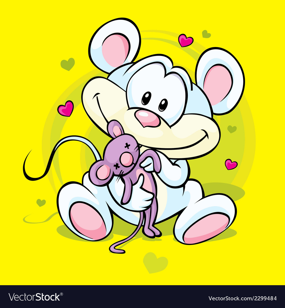 Cute mouse holding doll vector | Price: 1 Credit (USD $1)