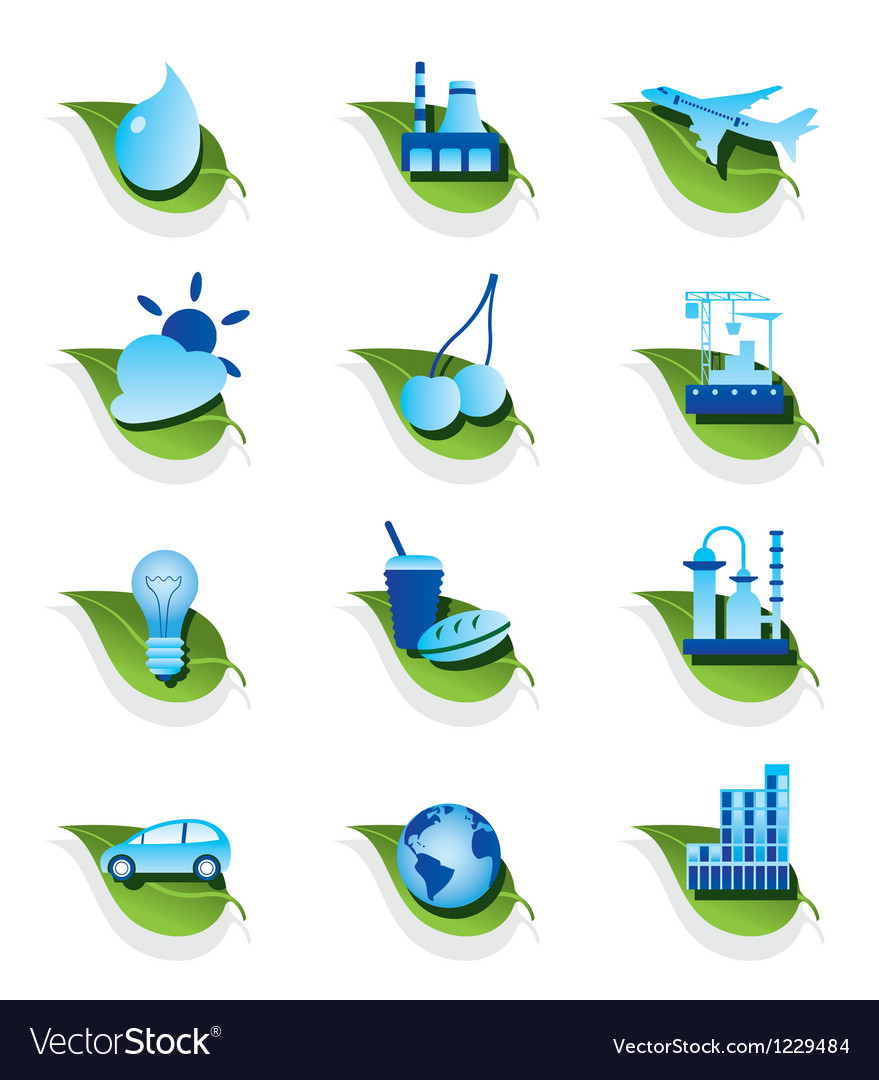 Diverse ecological icons set vector | Price: 1 Credit (USD $1)