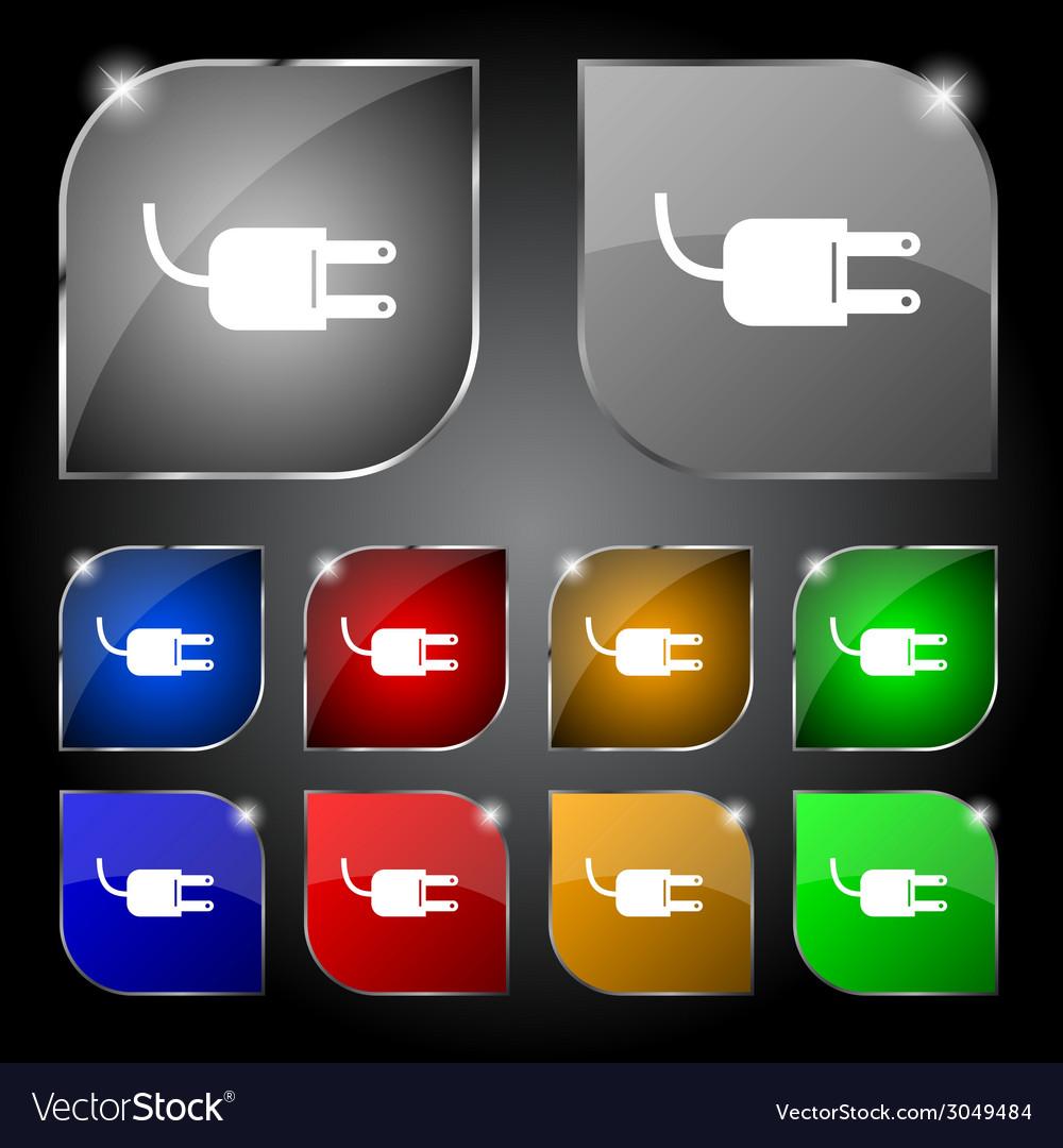 Electric plug sign icon power energy symbol set vector   Price: 1 Credit (USD $1)