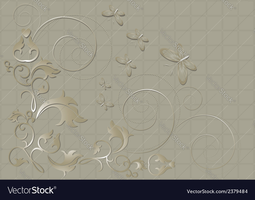 Floral pattern with butterflies and spirals on a b vector | Price: 1 Credit (USD $1)