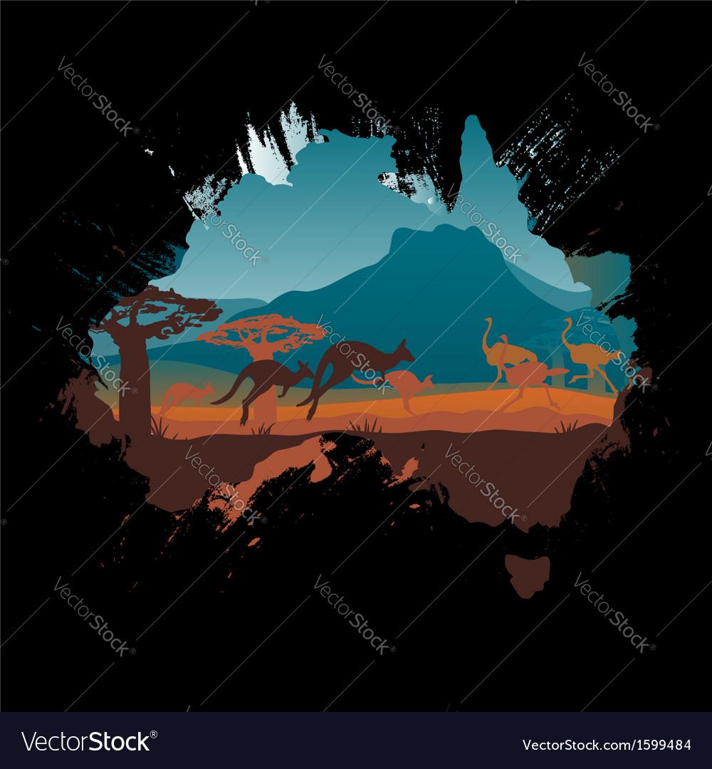 Grunge australia travel design template vector | Price: 1 Credit (USD $1)