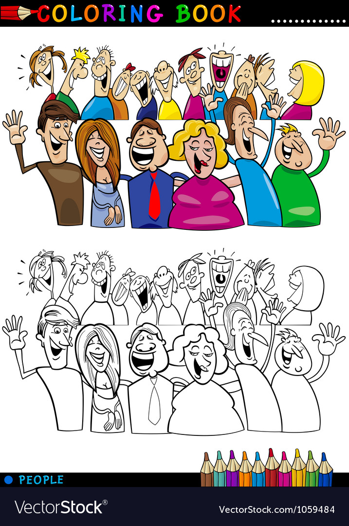 Happy people group for coloring vector | Price: 3 Credit (USD $3)