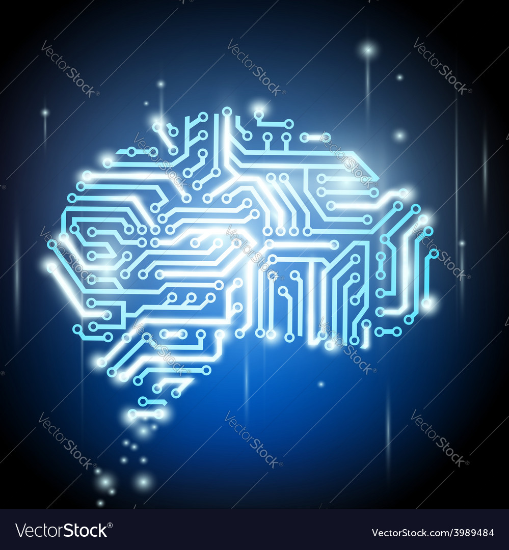 Human brain as a computer chip vector | Price: 1 Credit (USD $1)