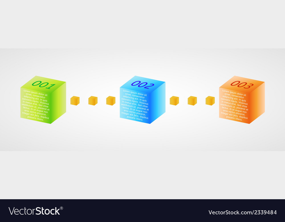 Infographics - three color cubes vector | Price: 1 Credit (USD $1)