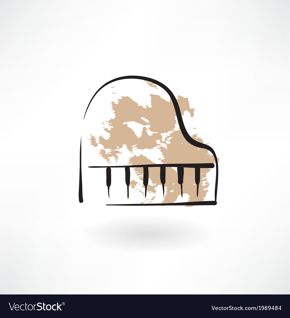 Piano keyboard grunge icon vector | Price: 1 Credit (USD $1)