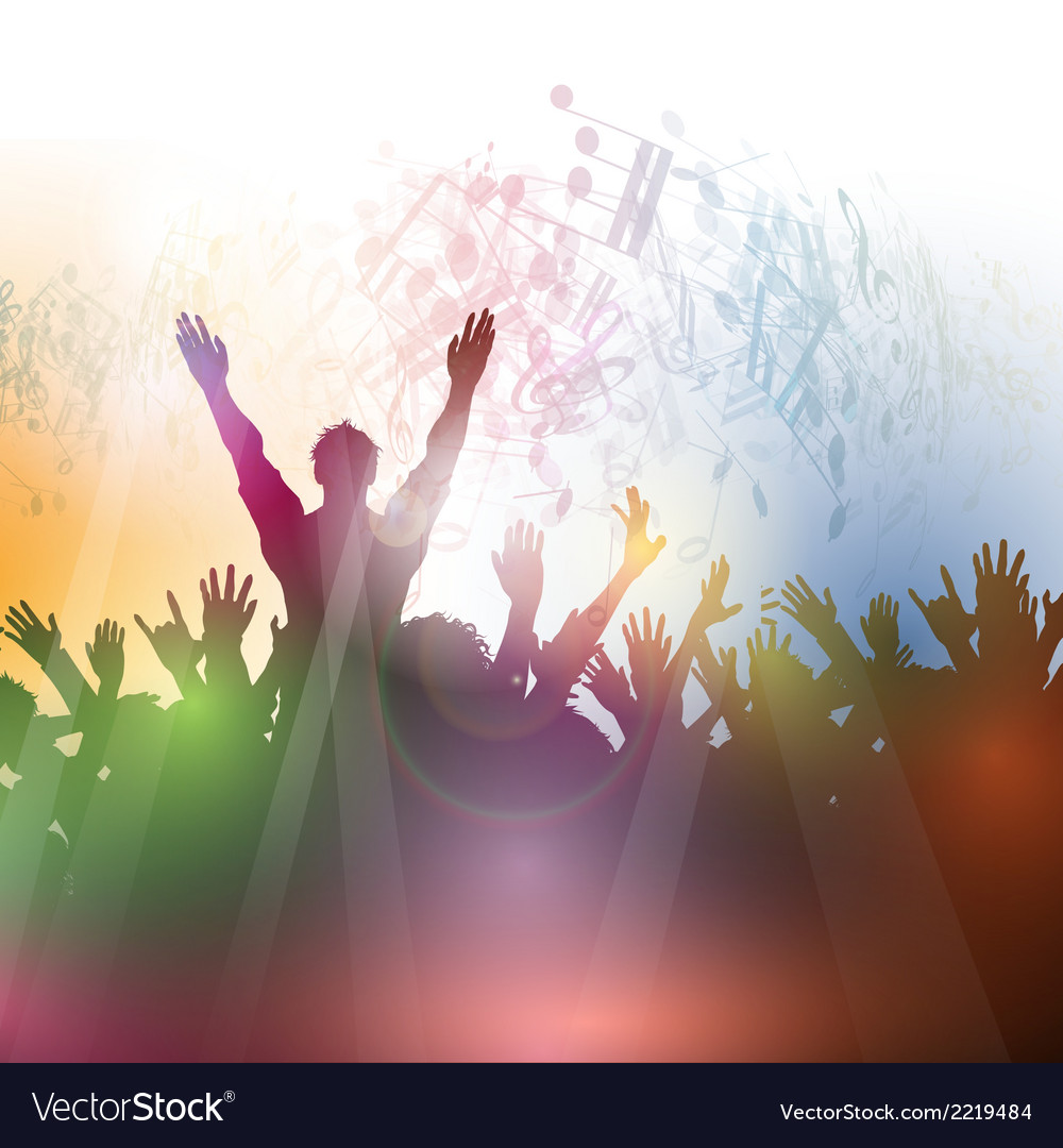 Silhouette of a party crowd on an abstract vector | Price: 1 Credit (USD $1)