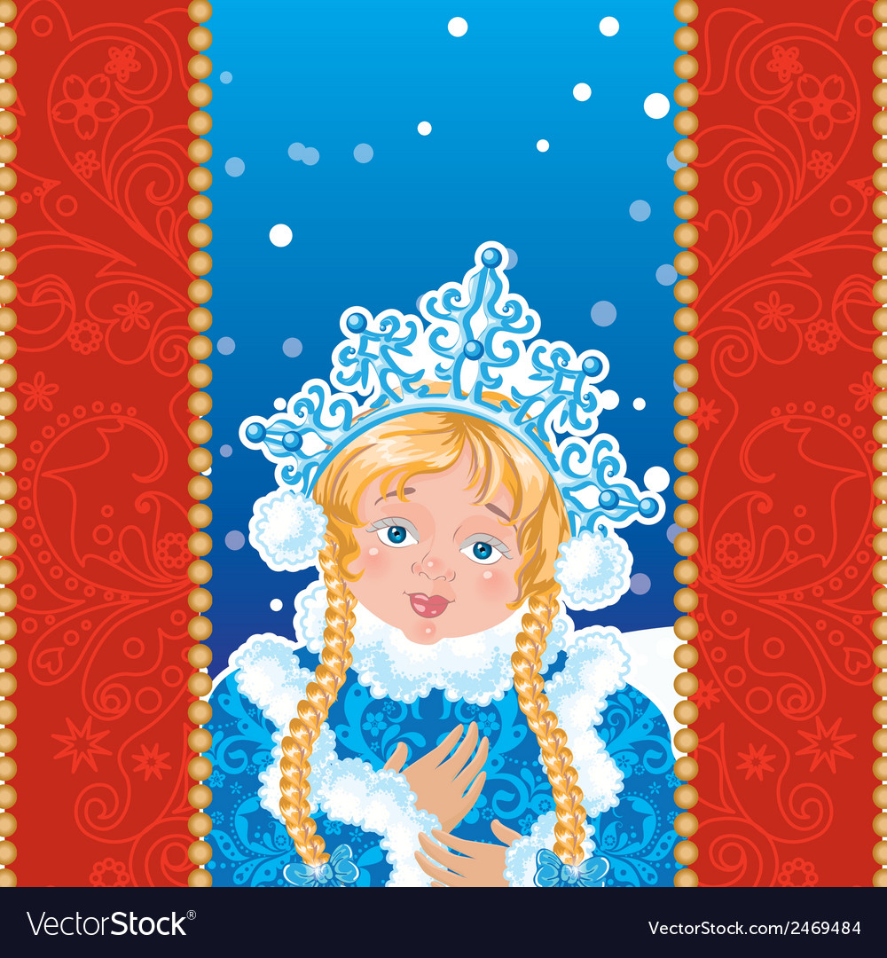 Snow maiden on a blue background with white vector | Price: 1 Credit (USD $1)