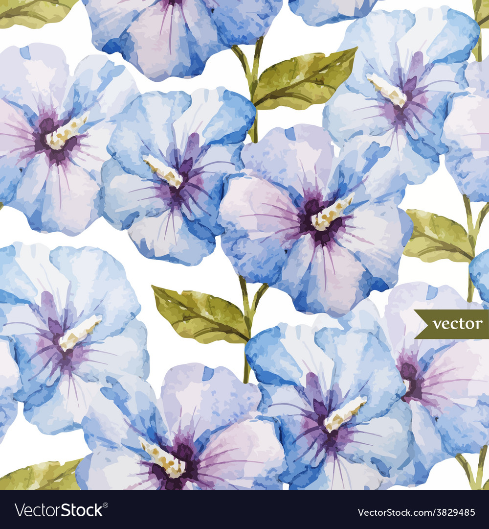 Blue flowers pattern vector | Price: 1 Credit (USD $1)