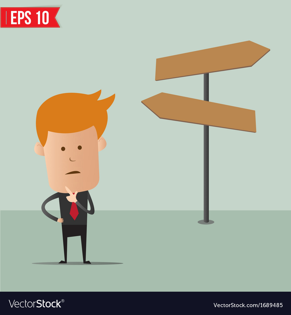 Business man thinking of choice for route vector | Price: 1 Credit (USD $1)
