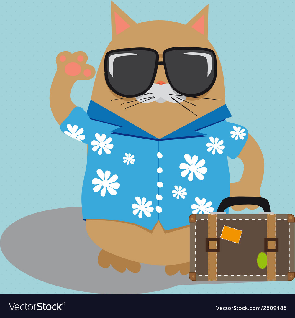 Cat tourist wearing sunglasses and a shirt with vector | Price: 1 Credit (USD $1)