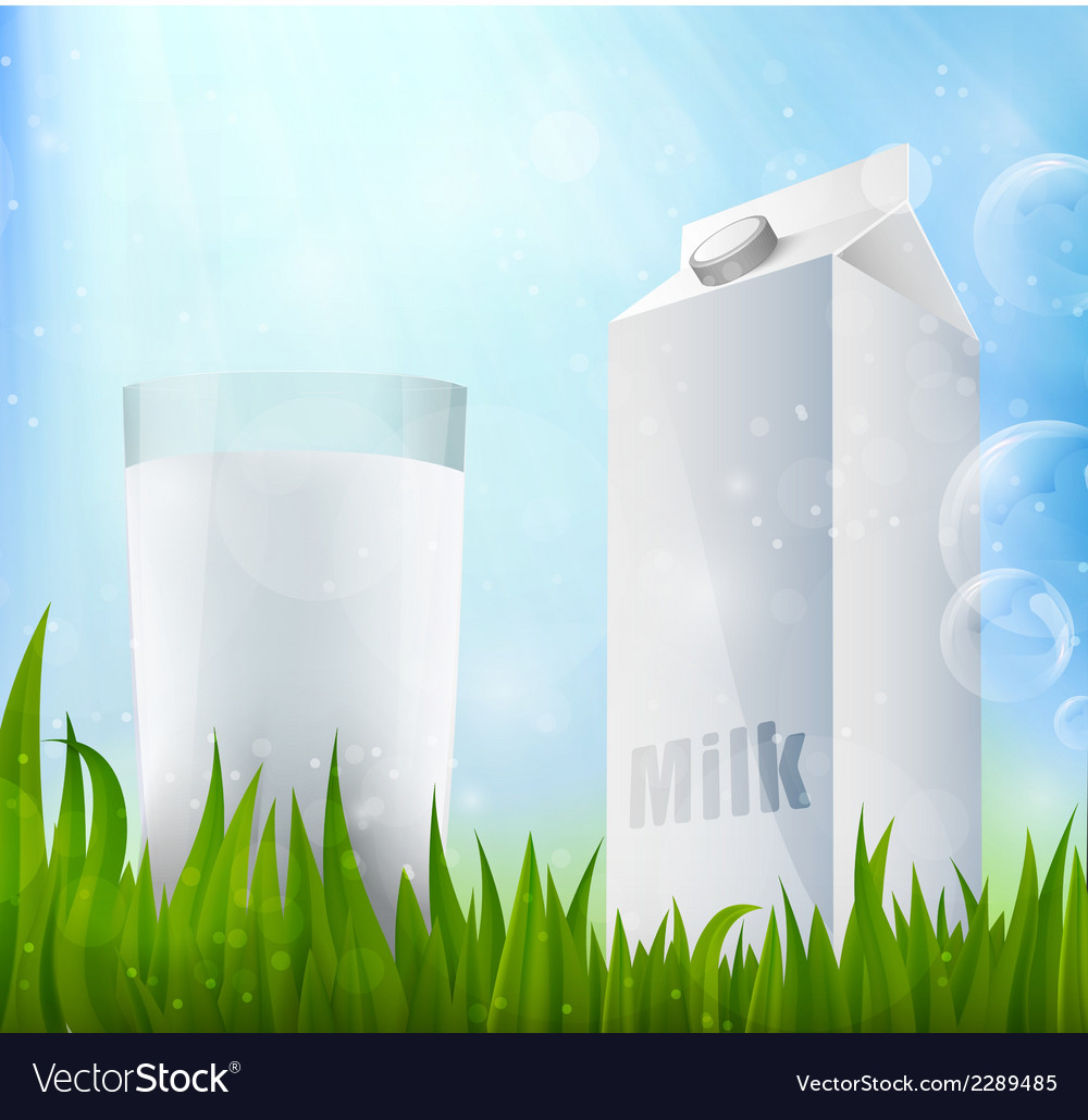 Fresh milk in a glass container of milk vector | Price: 1 Credit (USD $1)