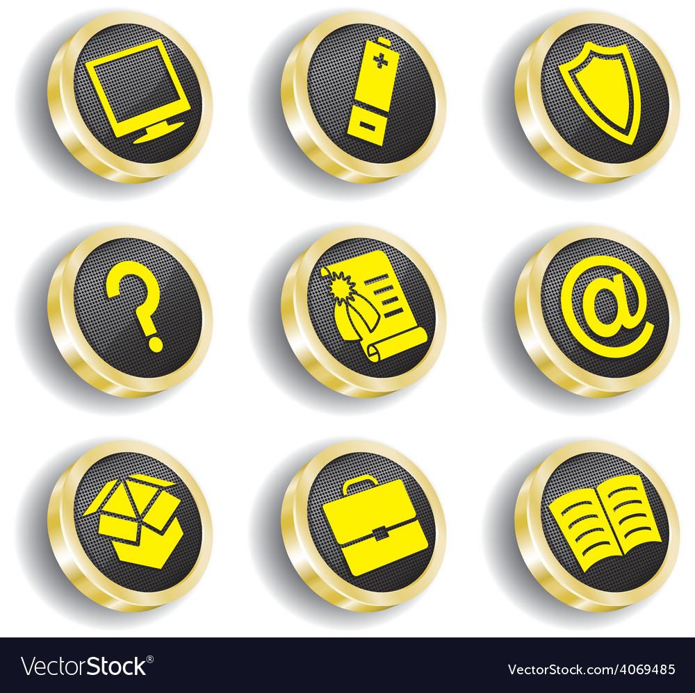 Golden web icon set vector   Price: 1 Credit (USD $1)