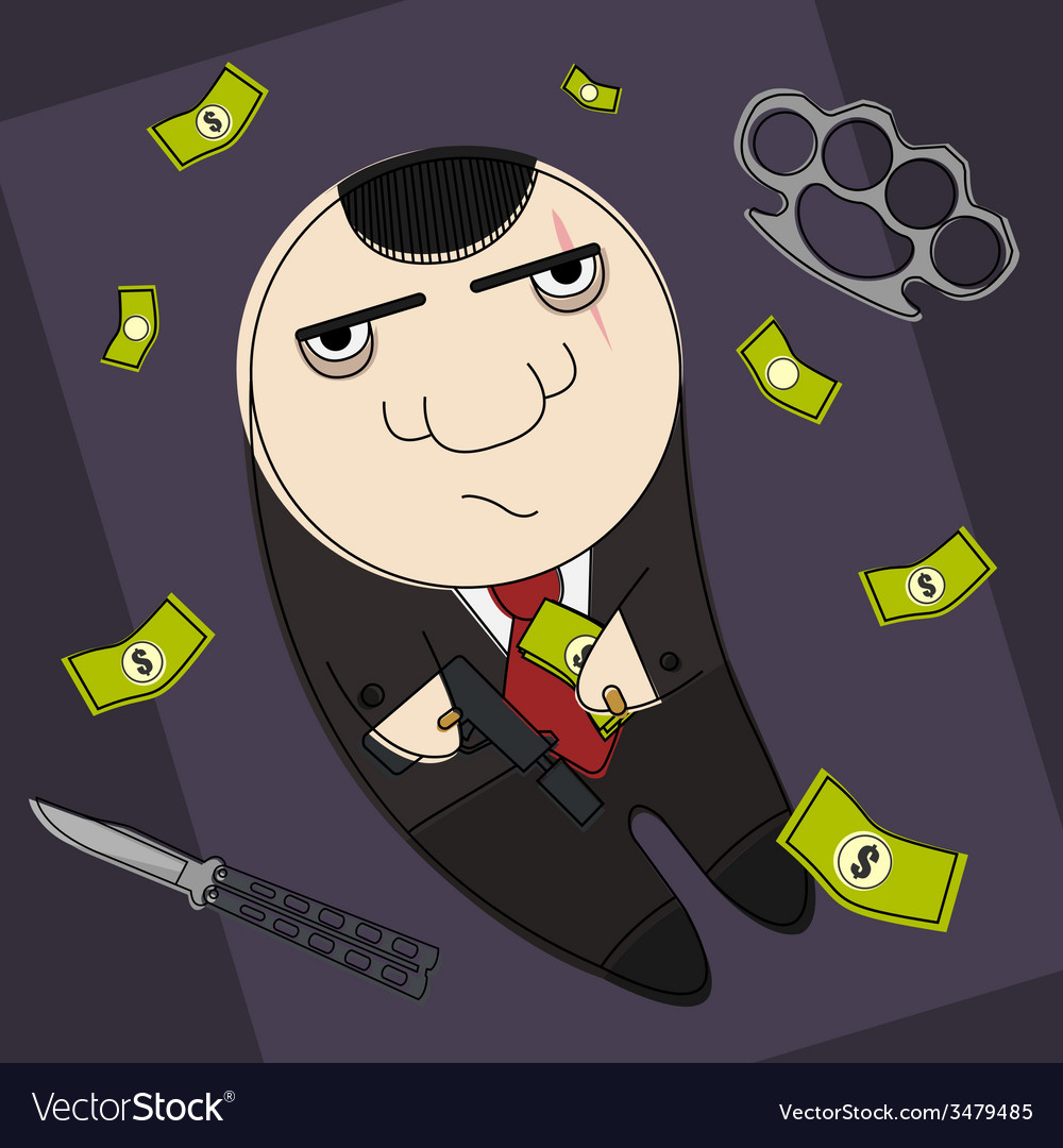 Hitman in funny cartoon style vector | Price: 1 Credit (USD $1)