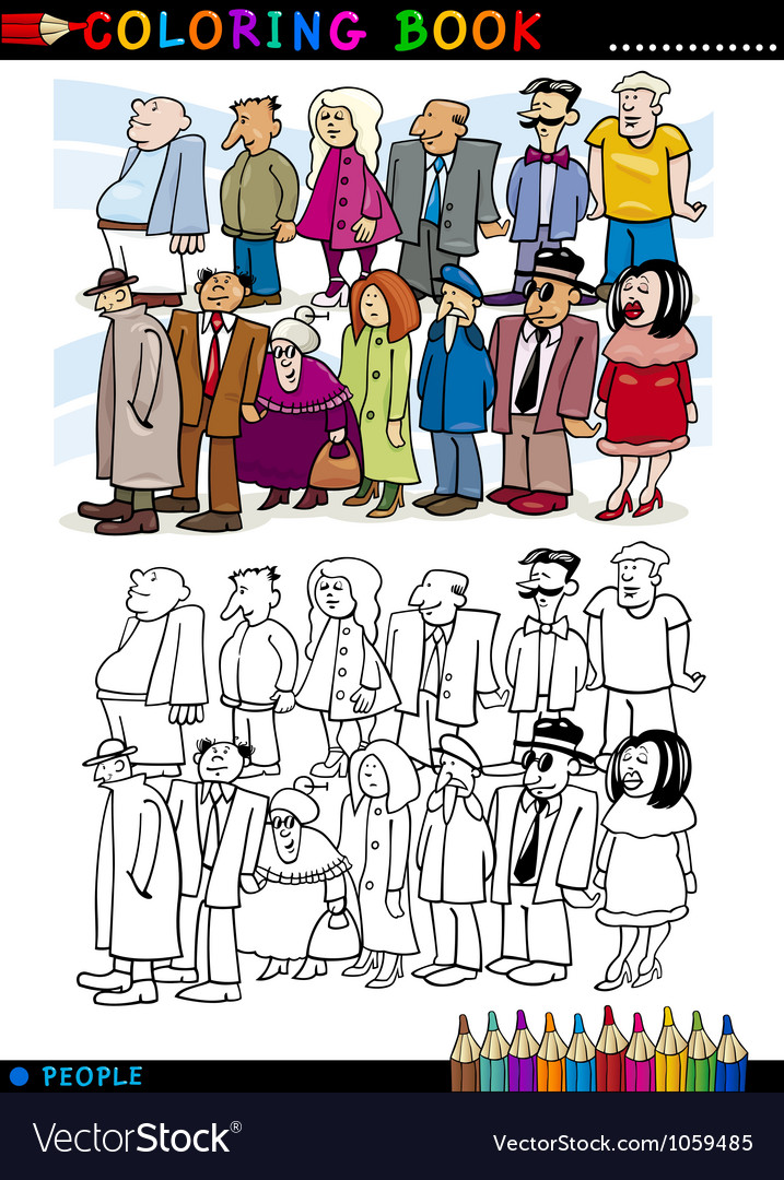 People in queue for coloring vector | Price: 3 Credit (USD $3)