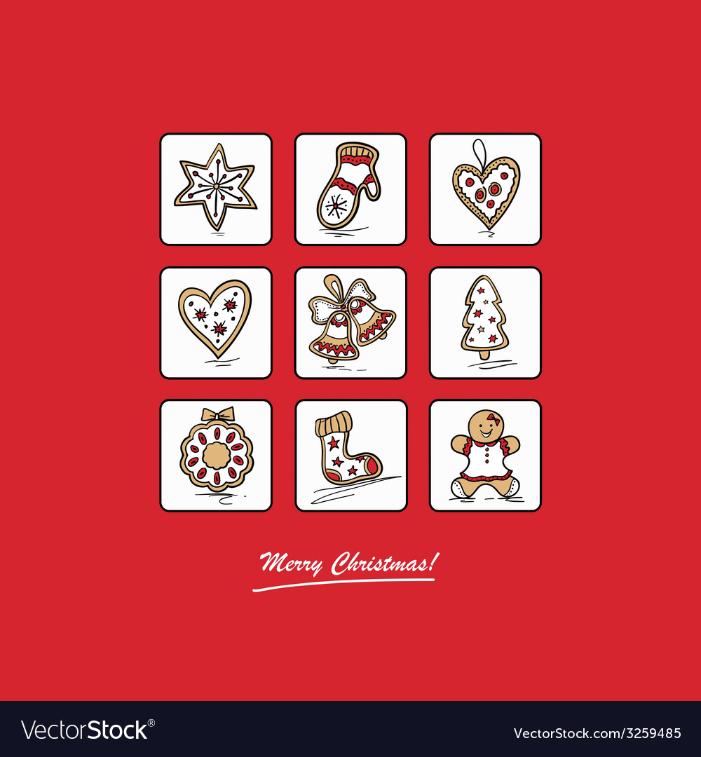 Red greeting card with christmas gingerbreads vector   Price: 1 Credit (USD $1)