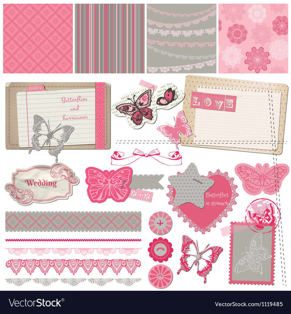 Scrapbook design elements - vintage lace butterfli vector | Price: 1 Credit (USD $1)