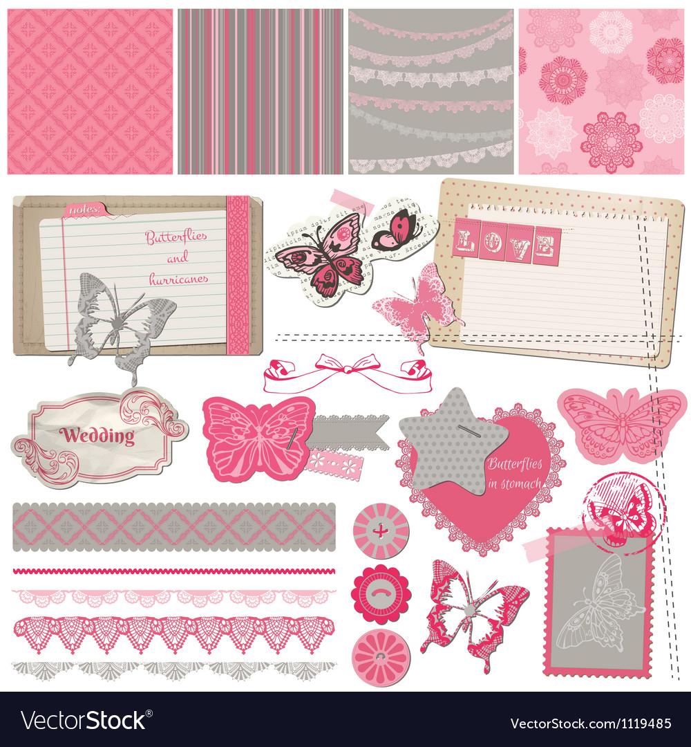 Scrapbook design elements - vintage lace butterfli vector | Price: 1 Credit (USD $1)