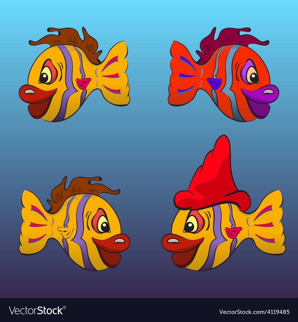 Smiling cartoon fishes vector | Price: 1 Credit (USD $1)