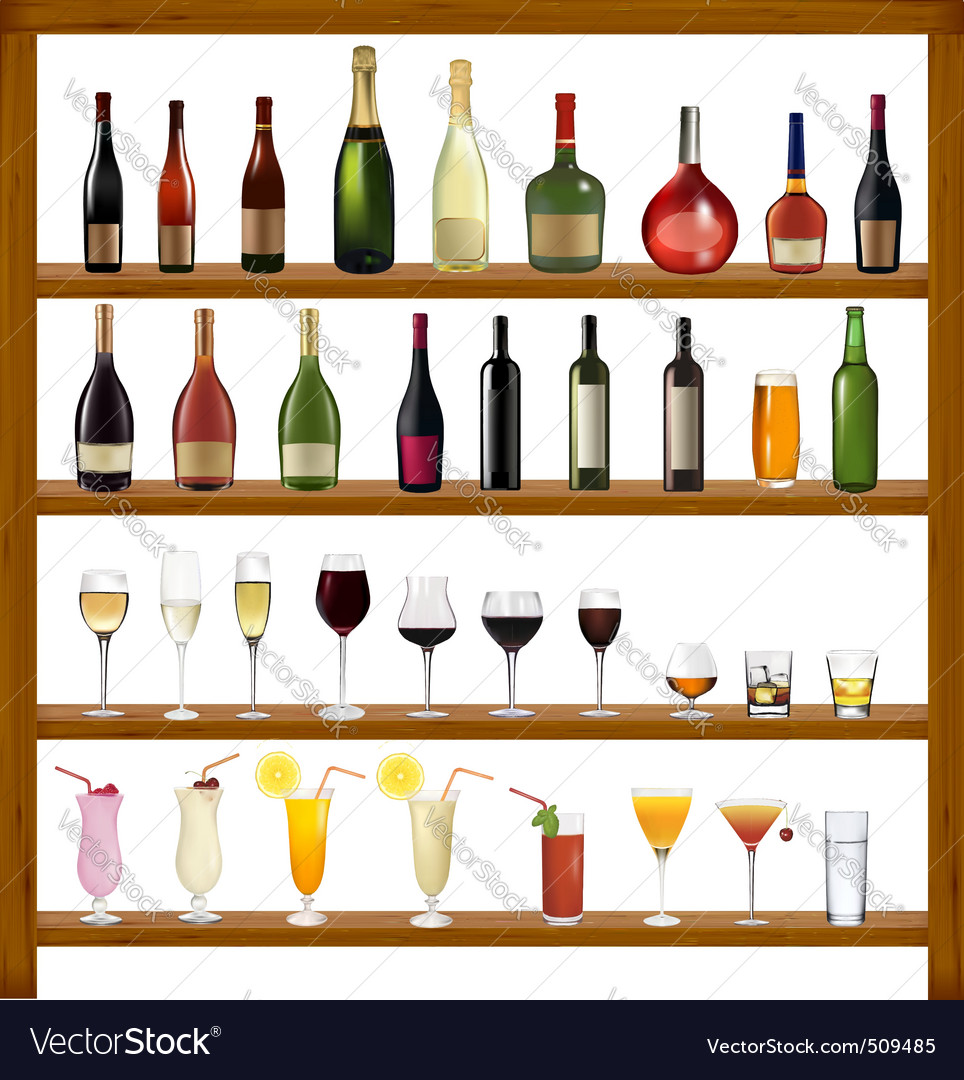 Super collection of bottles and glasses vector | Price: 3 Credit (USD $3)
