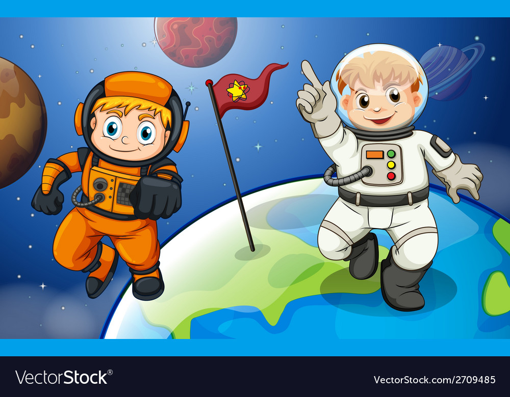 Two male astronauts in the outerspace vector | Price: 3 Credit (USD $3)