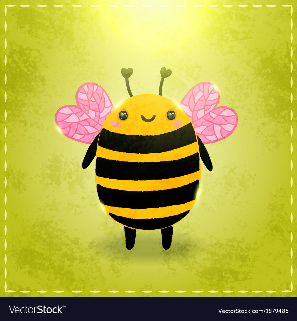 Valentines day greeting card with bee vector | Price: 1 Credit (USD $1)