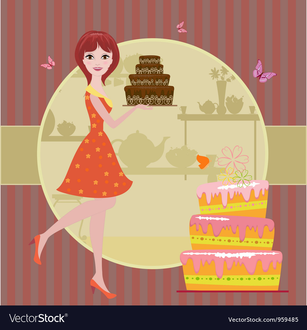 Woman cake vector | Price: 3 Credit (USD $3)