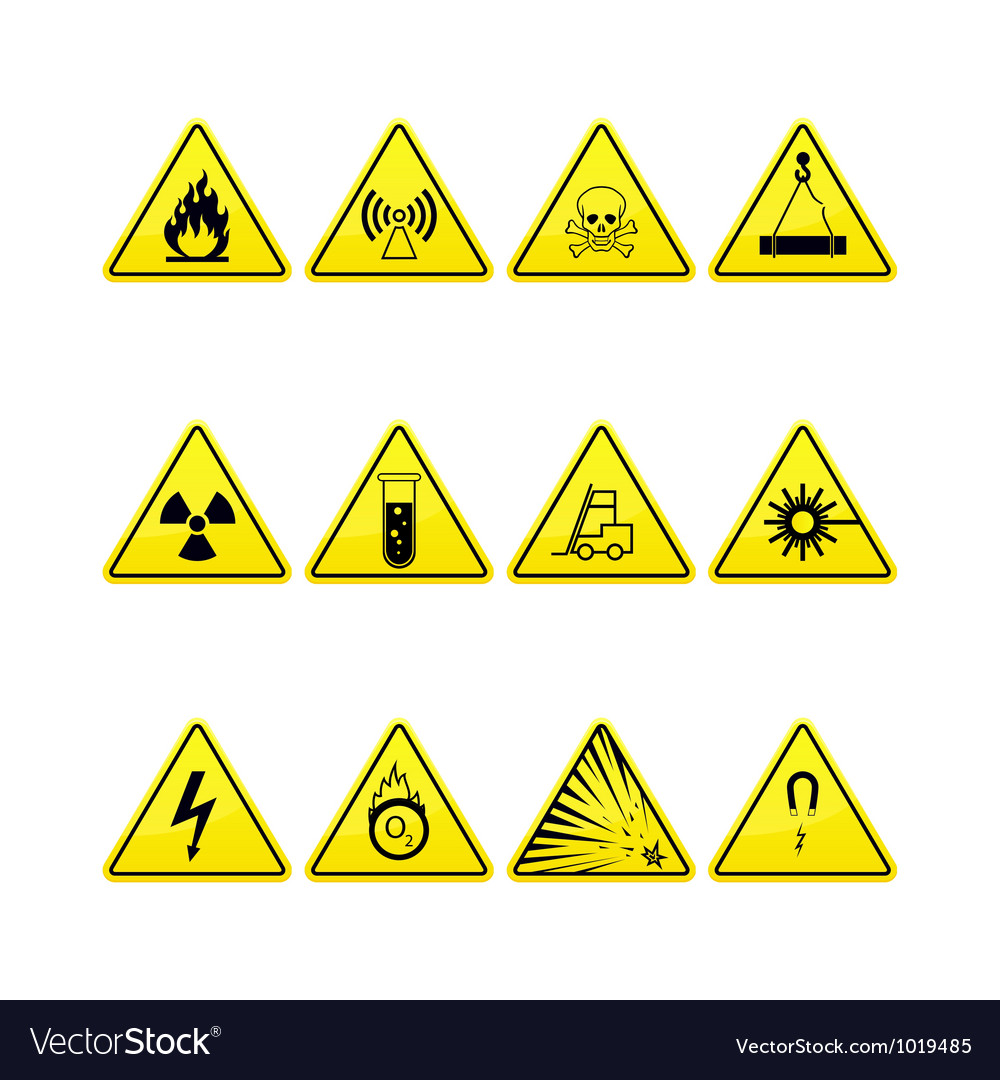Yellow warning and danger icons collection vector | Price: 1 Credit (USD $1)