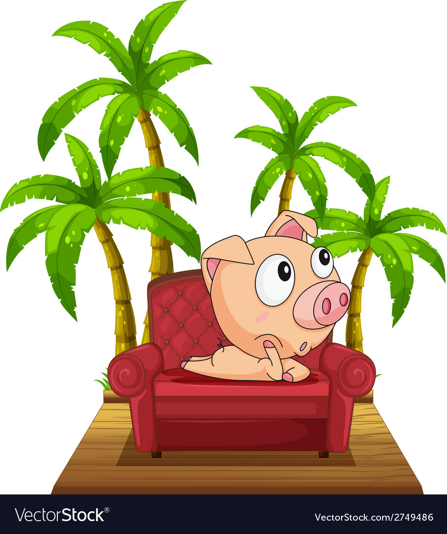 A pig sitting at the chair near the coconut trees vector | Price: 1 Credit (USD $1)