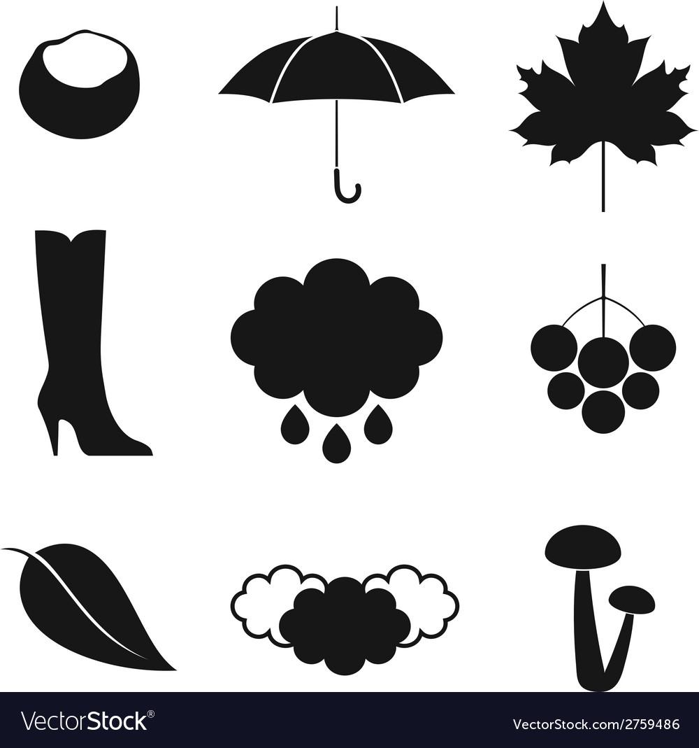 Autumn icon set vector | Price: 1 Credit (USD $1)