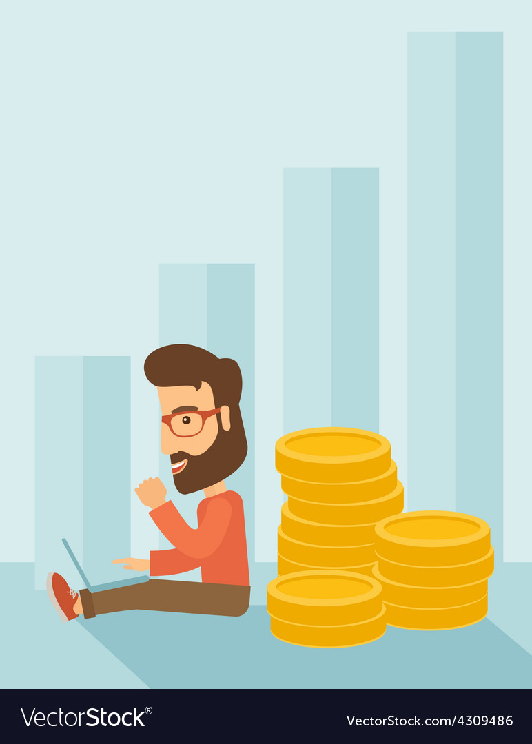 Businessman is sitting with pile of gold coins on vector | Price: 1 Credit (USD $1)