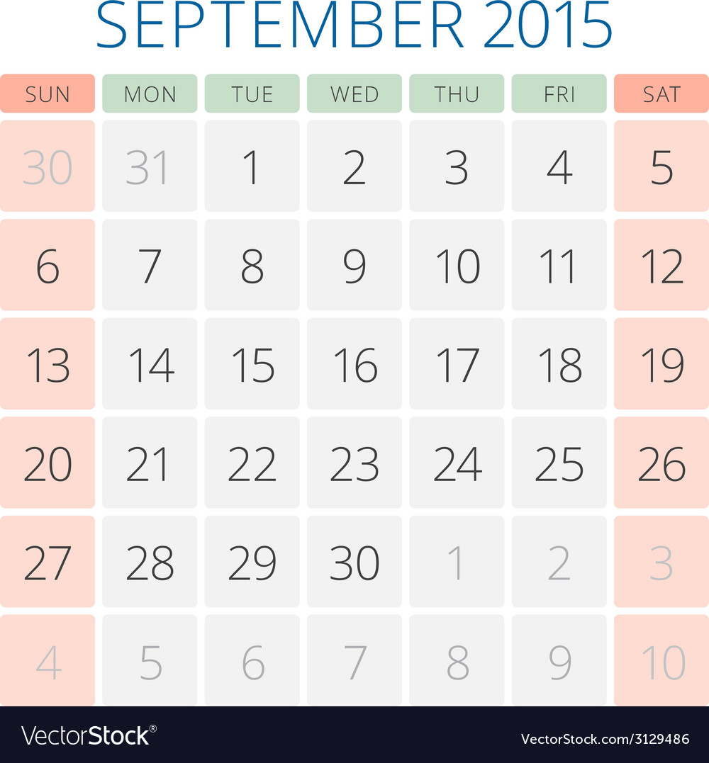 Calendar 2015 september design template vector | Price: 1 Credit (USD $1)