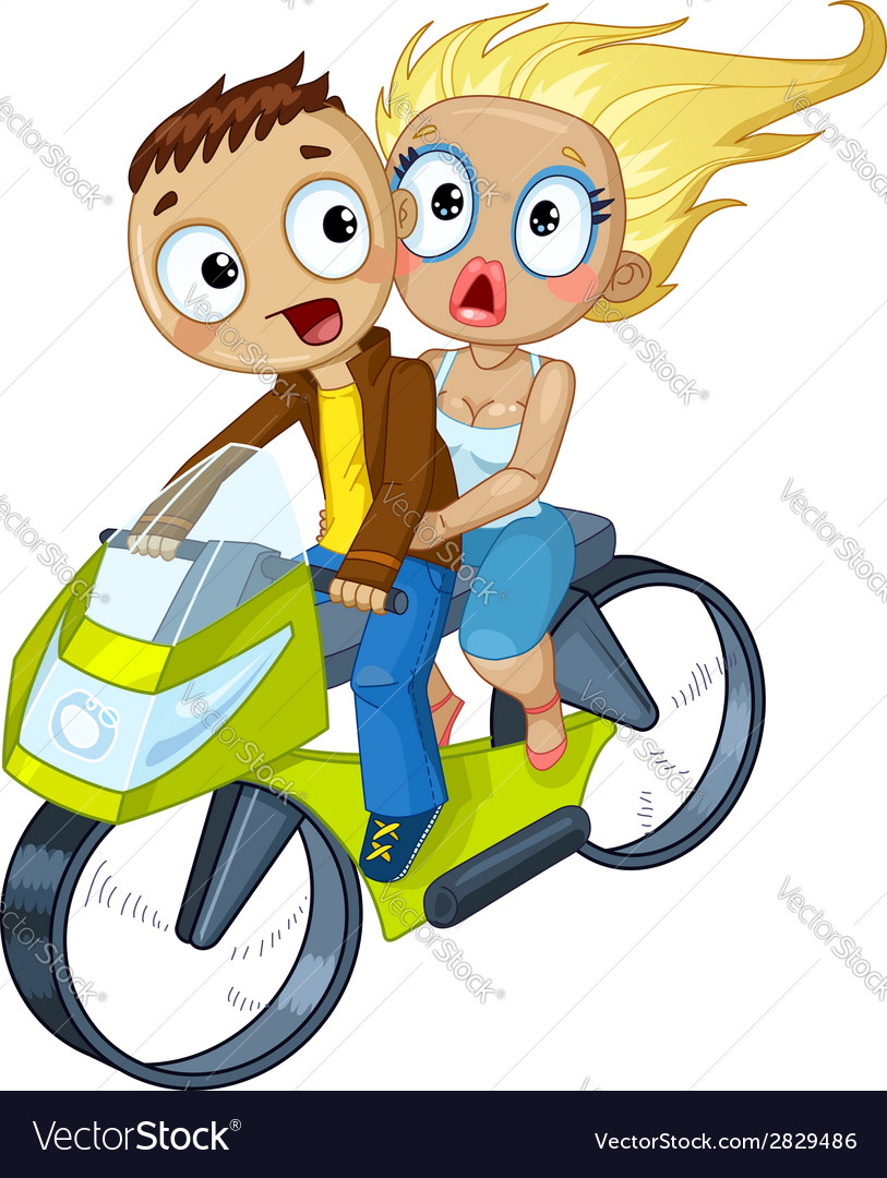 Couple on motorcycle vector | Price: 1 Credit (USD $1)