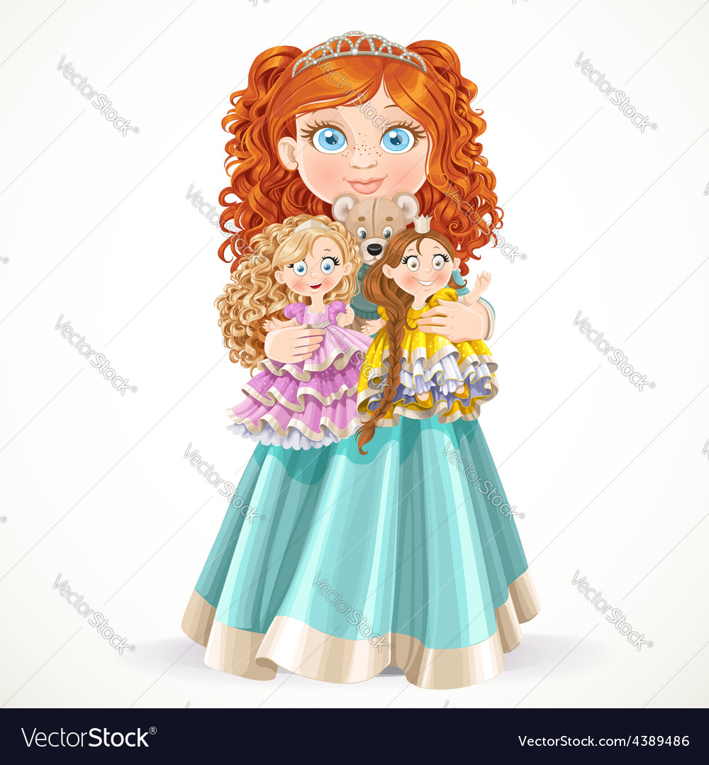 Cute little red-haired princess girl holding in vector | Price: 3 Credit (USD $3)