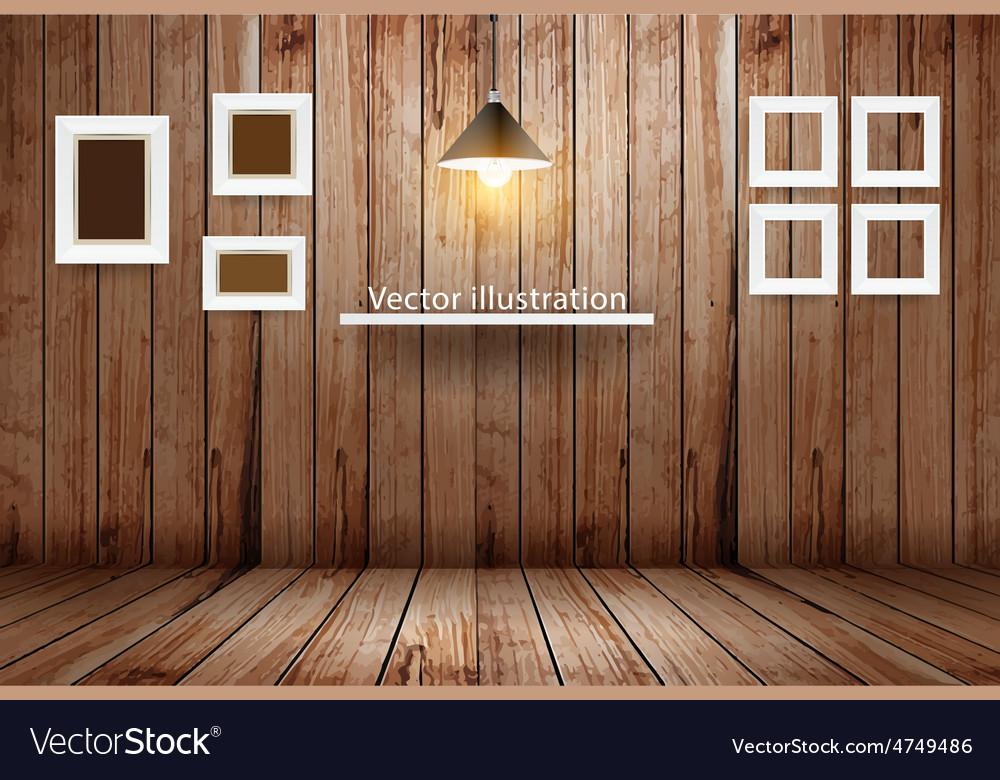 Empty wooden room template design vector | Price: 3 Credit (USD $3)