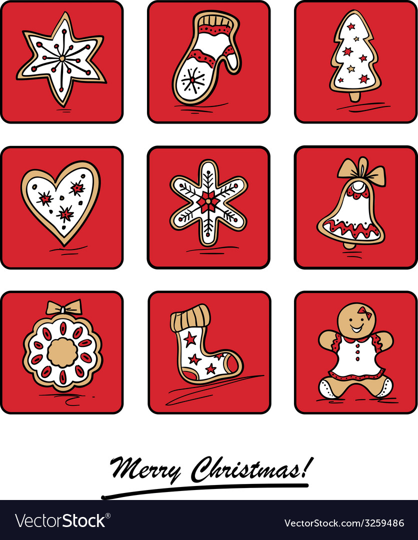 Greeting card with christmas gingerbreads vector | Price: 1 Credit (USD $1)