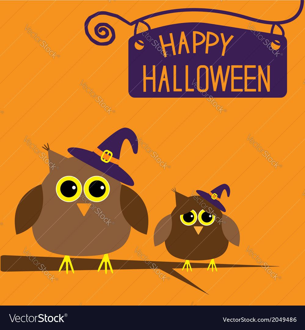 Happy halloween card with owls vector | Price: 1 Credit (USD $1)