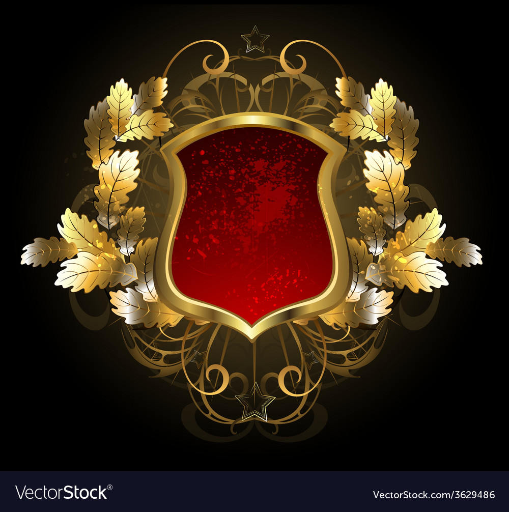 Red shield with an oak branch vector