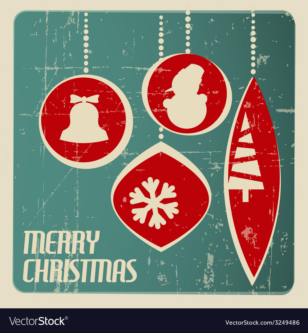 Retro christmas card with christmas decorations vector | Price: 1 Credit (USD $1)