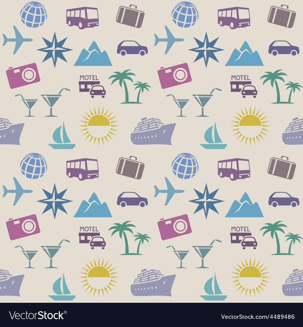 Seamless wallpaper pattern with travel icons vector | Price: 1 Credit (USD $1)