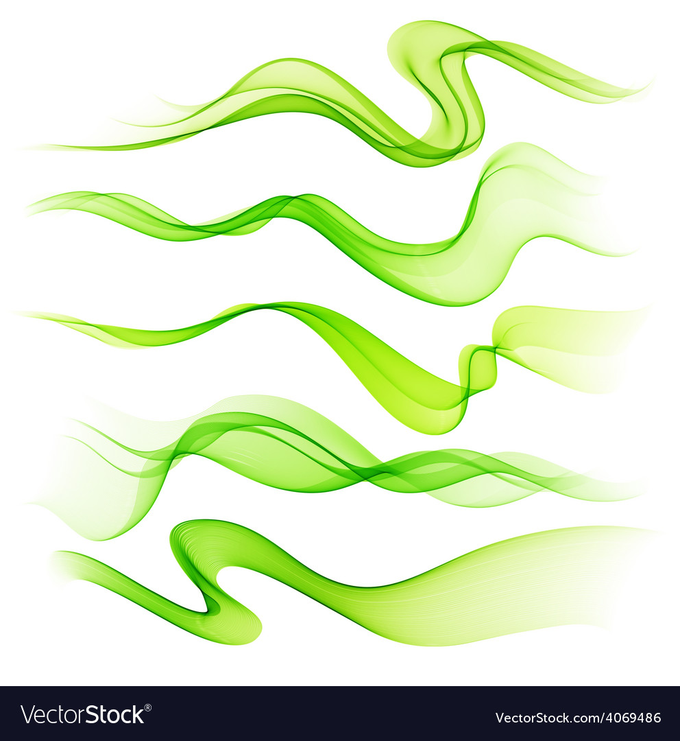 Set of abstract smoke curved lines vector | Price: 1 Credit (USD $1)