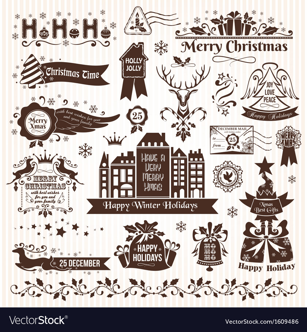 Set of christmas decorative elements vector | Price: 1 Credit (USD $1)