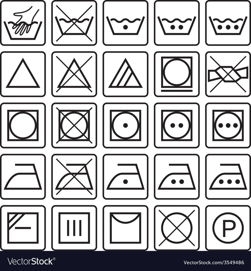 Set of laundry care symbols vector | Price: 1 Credit (USD $1)