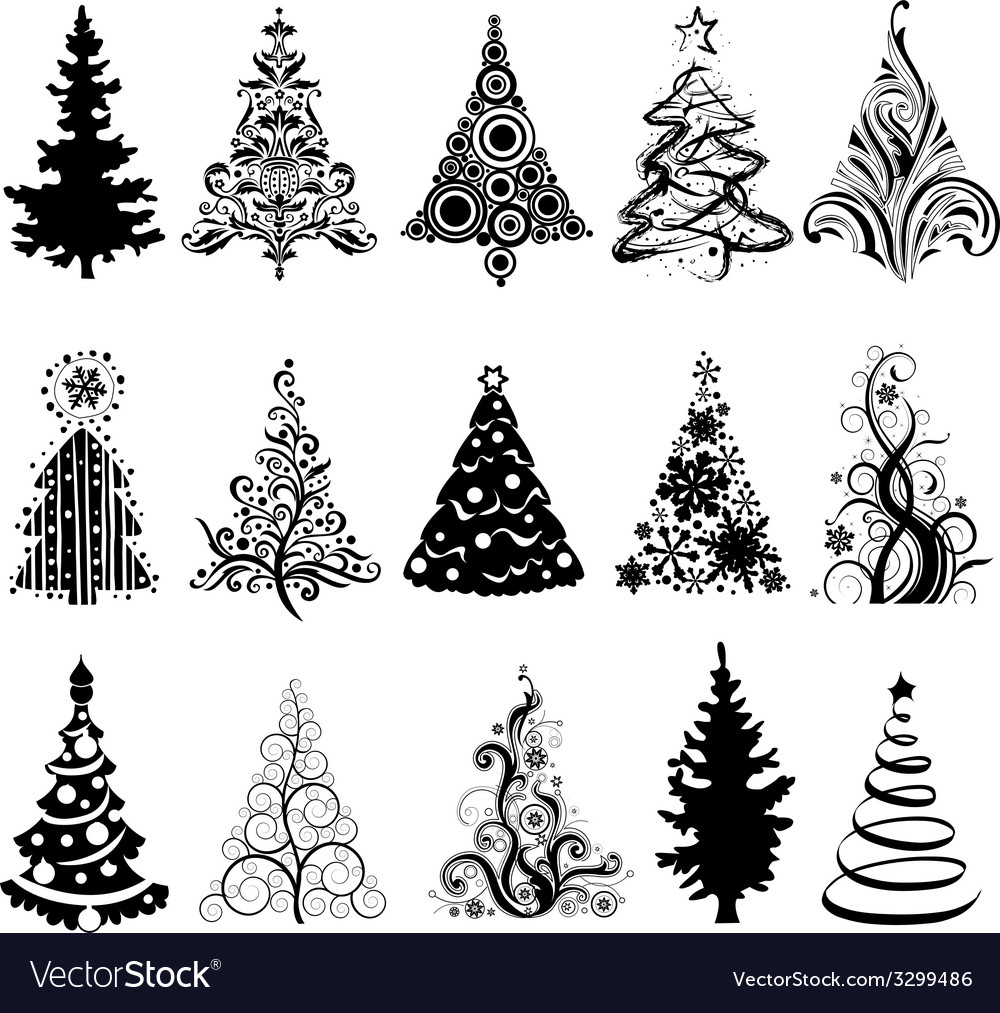 Set of luxury christmas trees vector | Price: 1 Credit (USD $1)