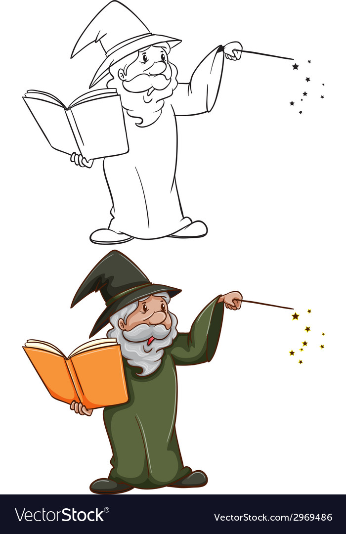 Simple and coloured sketches of a wizard vector | Price: 1 Credit (USD $1)