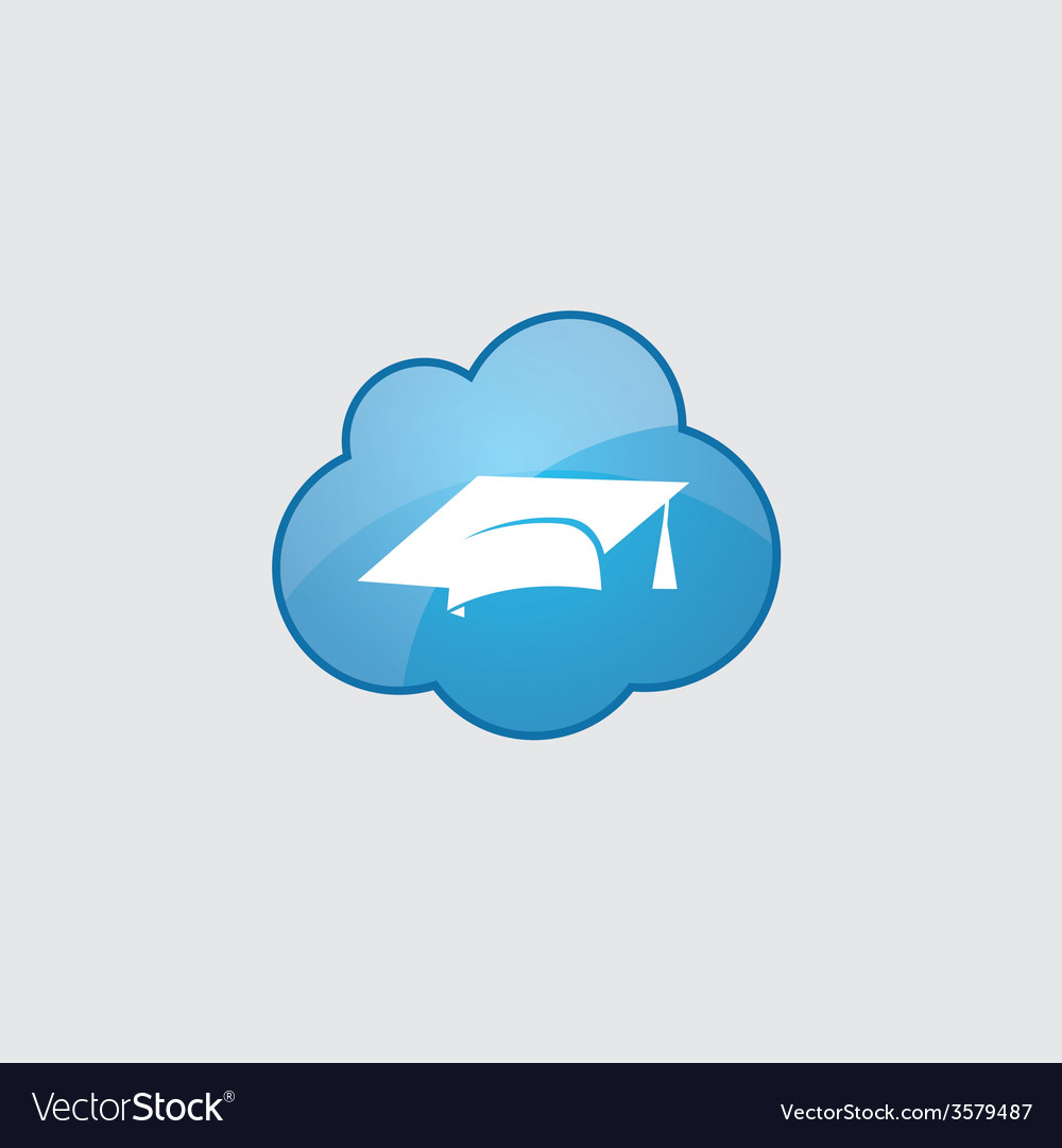 Blue cloud education icon vector | Price: 1 Credit (USD $1)