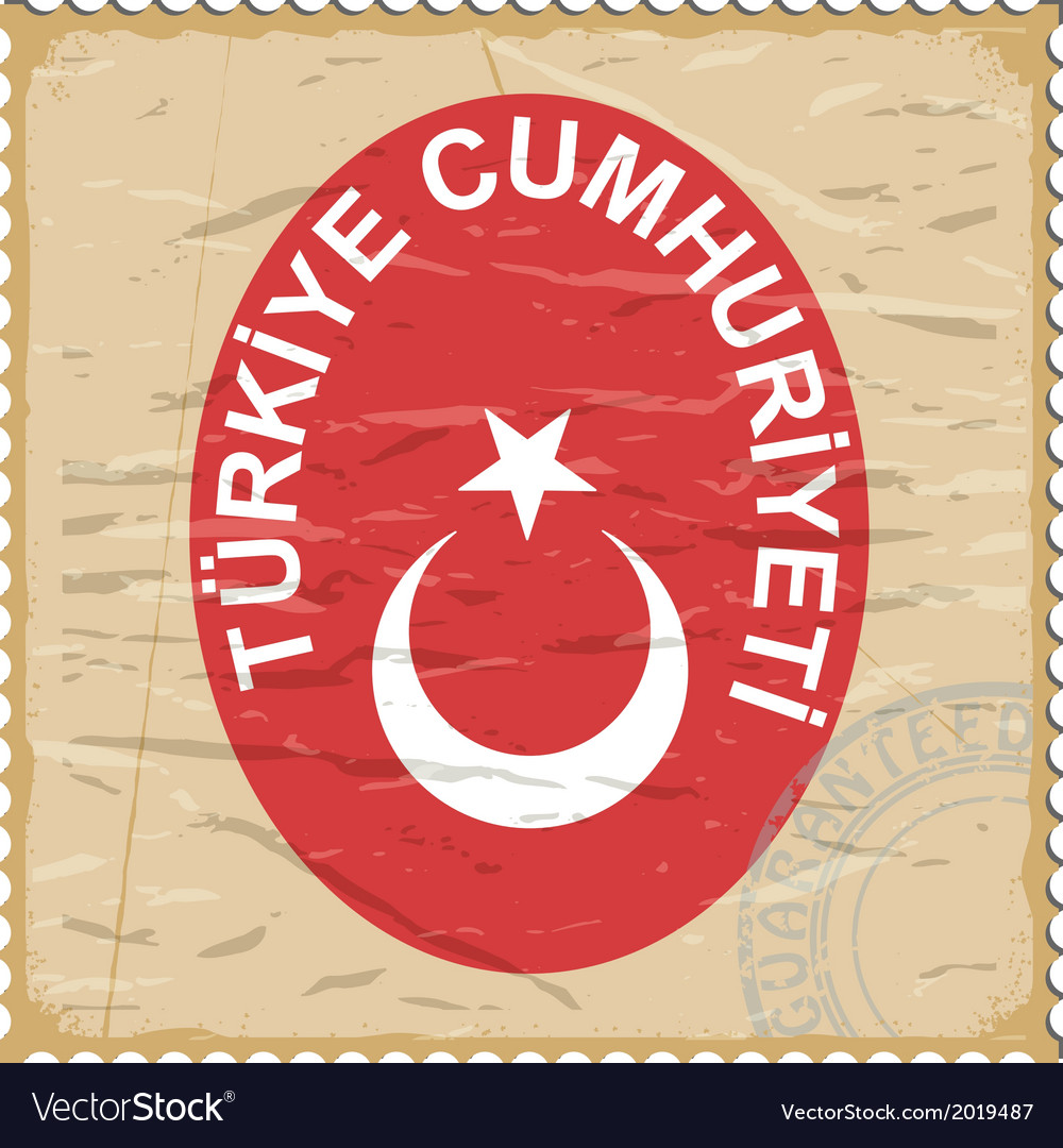 Coat of arms of turkey on the old postage stamp vector | Price: 1 Credit (USD $1)