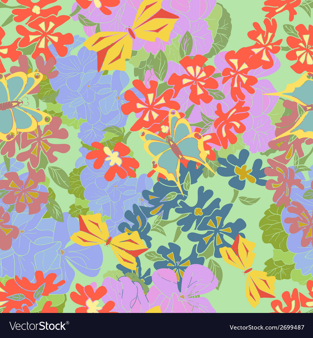 Flowers butterflies seamless vector | Price: 1 Credit (USD $1)