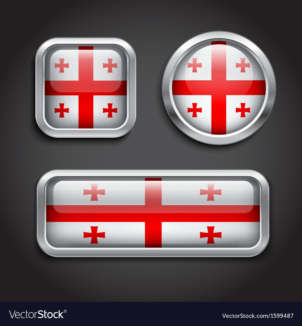 Georgia flag glass buttons vector | Price: 1 Credit (USD $1)