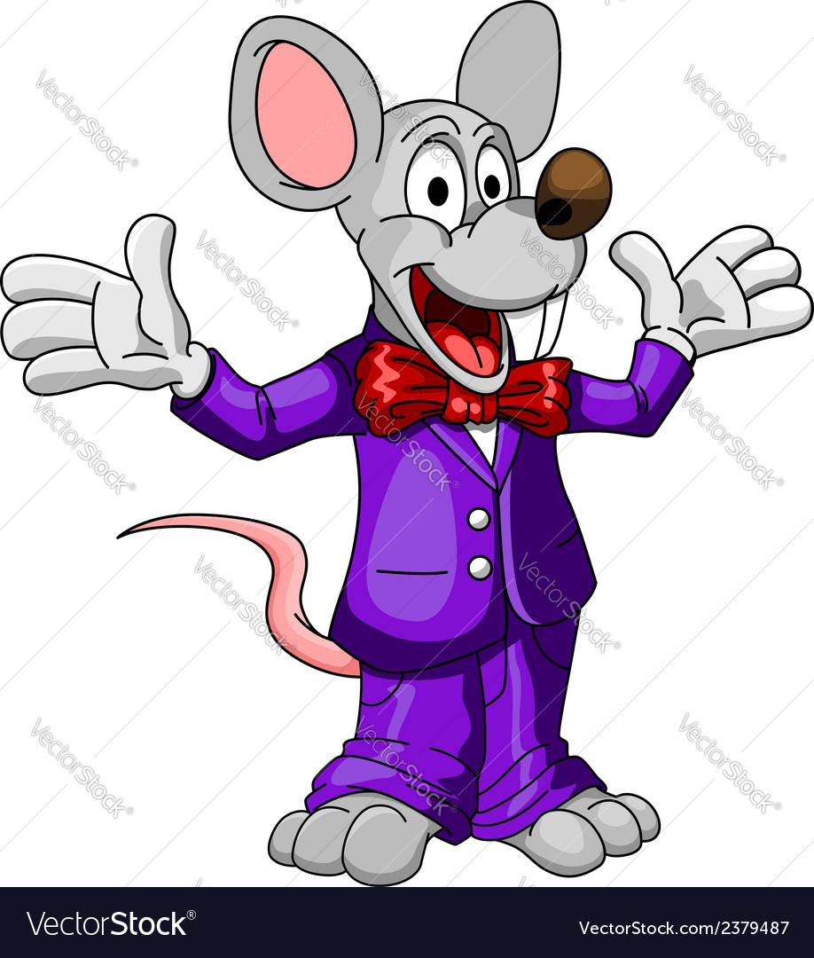 Happy cartoon mouse or rat in a suit vector | Price: 1 Credit (USD $1)