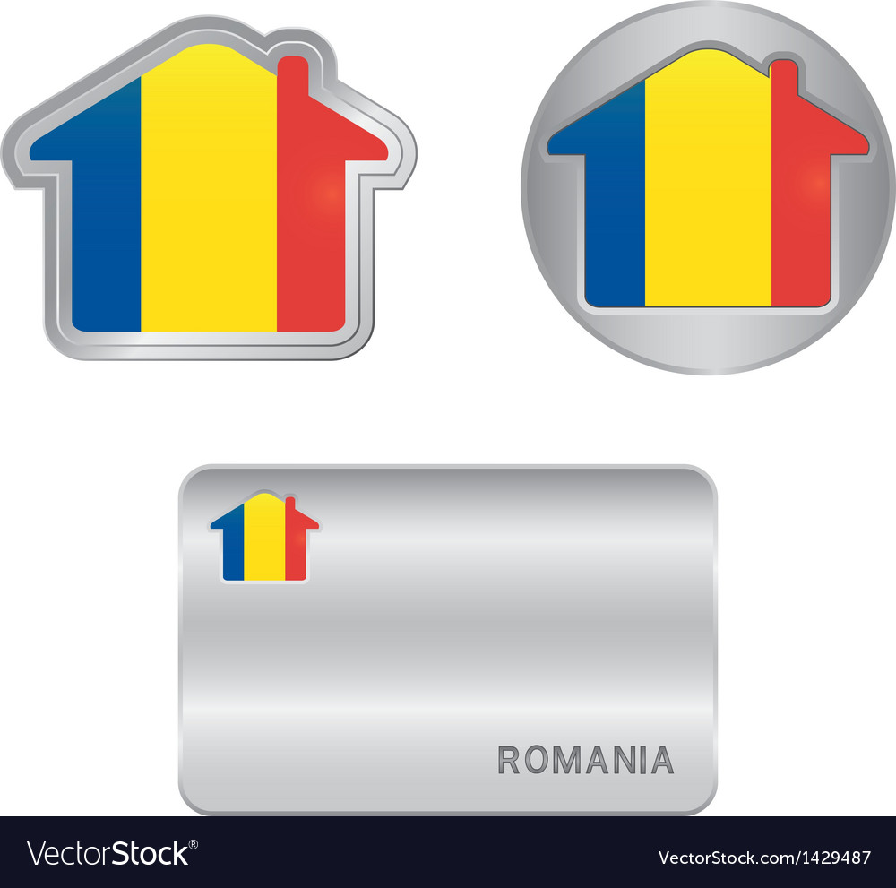 Home icon on the romania flag vector | Price: 1 Credit (USD $1)